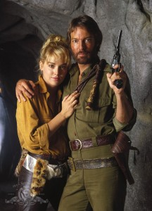 "Sharon Stone and Richard Chamberlain in ""Allan Quatermain and the Lost City of Gold"""